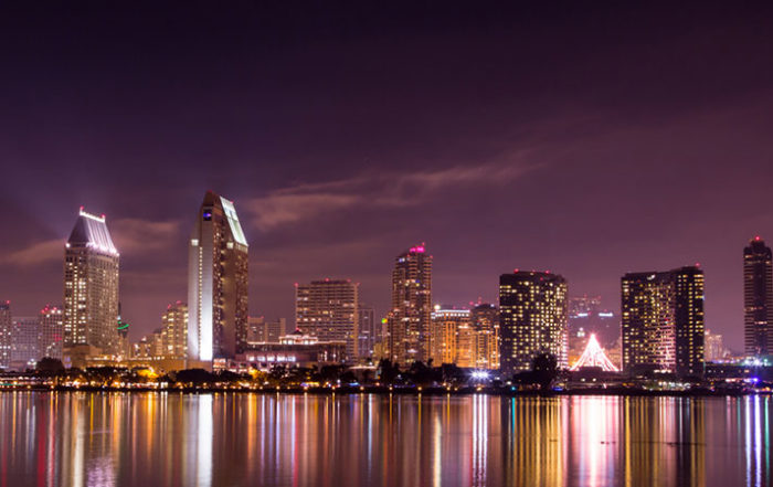 City Lights Shining on Bay in San Diego in the Evening