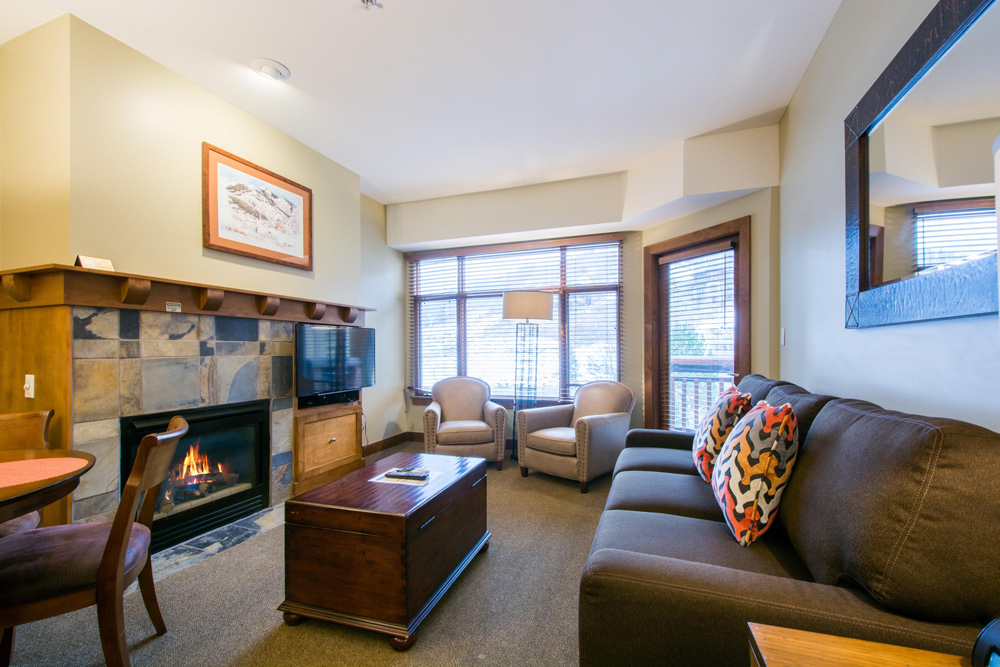 Living Room with Private Balcony at Sundial Lodge in Park City Utah