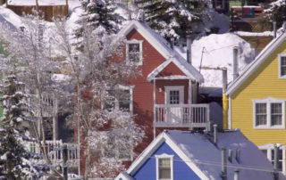 Colorful Houses Covered in Snow in Downtown Park City