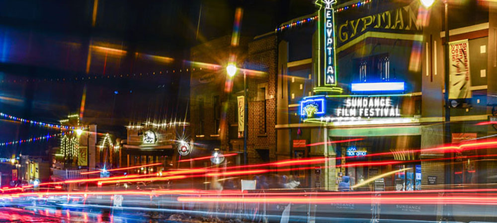Long Exposure of the Egyptian Theatre on Main Street in Park City