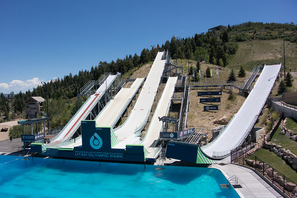 Freestyle Ramps in Utah Olympic Park in Summer