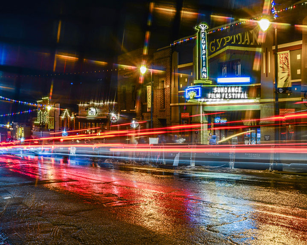 Long Exposure of The Egyptian Theatre on Main Street Park City