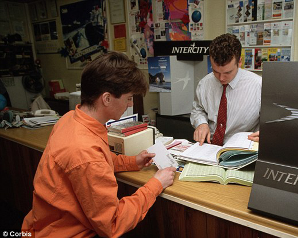 Vintage Photo of Travel Agent and Client