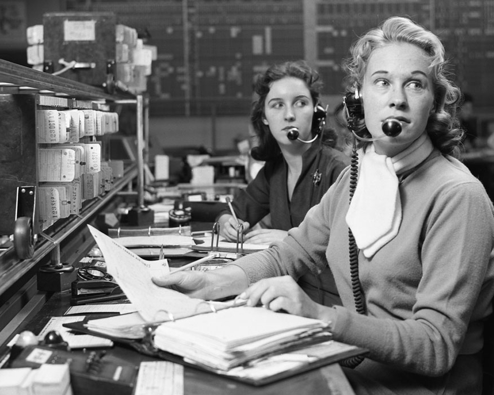 Vintage Photo of Women at Call Center