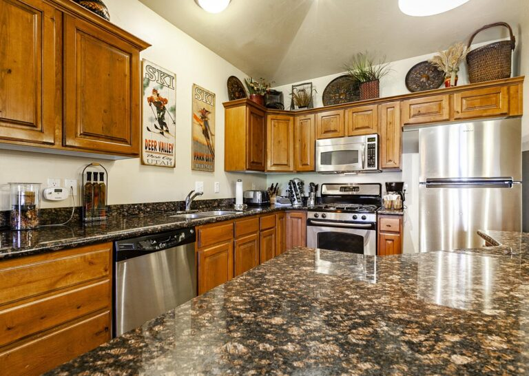Full kitchens include beautiful materials and high-end appliances