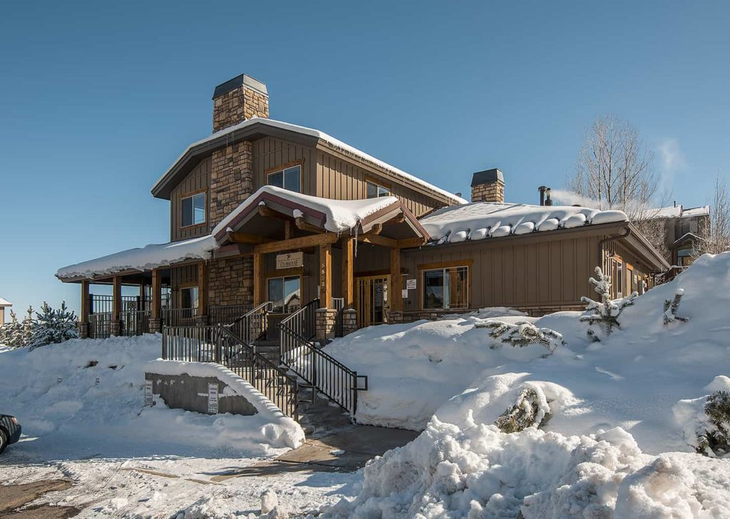 Clubhouse in Winter at Bear Hollow Village in Park City, Utah
