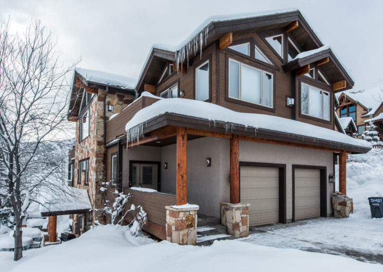 Snowy Exterior of Bear Hollow Private Home in Park City Utah