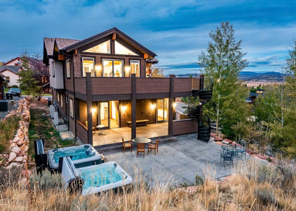 View of Backyard and Hot Tubs of Bear Hollow Private Home in Park City Utah