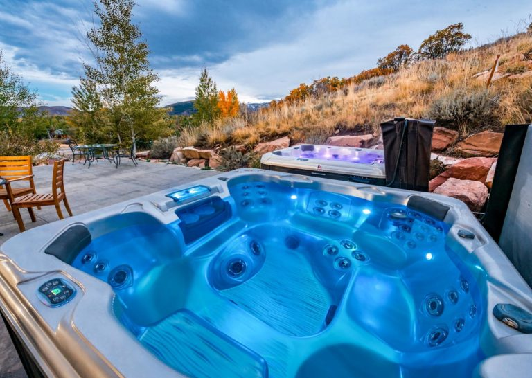 Hot Tub on Back Yard Porch at Bear Hollow Private Home in Park City Utah