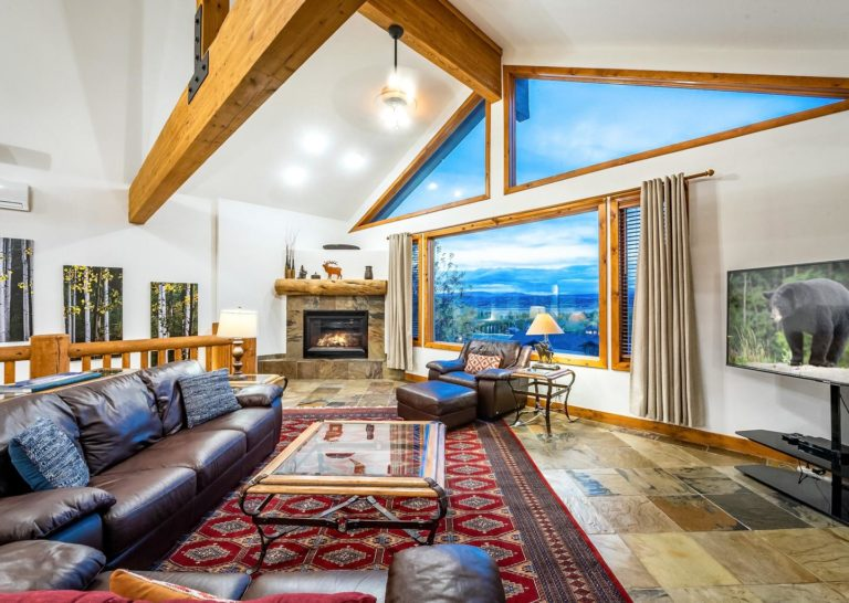 Living Room with Mountain Views at Bear Hollow Private Home in Park City Utah