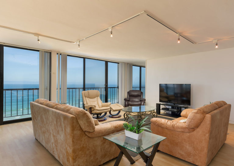 Living Room with Ocean Views at Capri by the Sea in San Diego, California