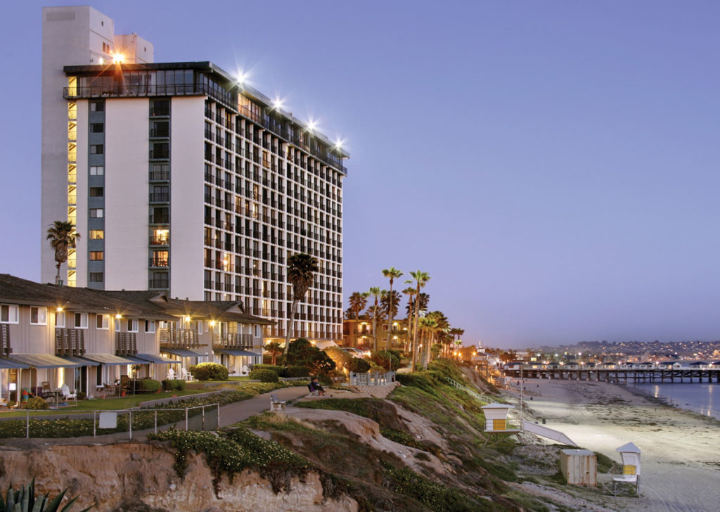 Exterior Shot of Capri by the Sea on the Beach in San Diego California
