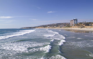 View of the Sea and Coastline of Pacific Beach in San Diego California