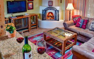Kitchen with Wine at Fort Marcy Hotel Suites in Santa Fe, New Mexico