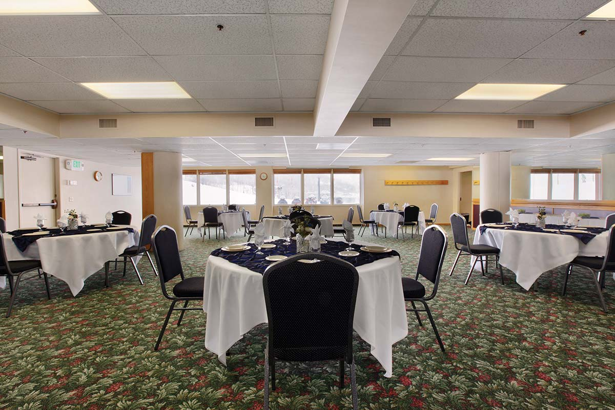 tables set for lunch in park city conference room