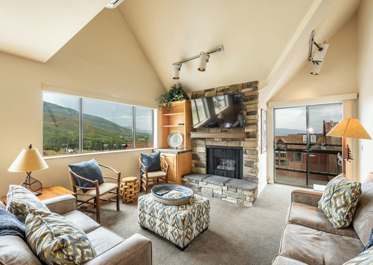 Living Room with Mountain Views at the Loft at the Mountain Village in Park City Utah