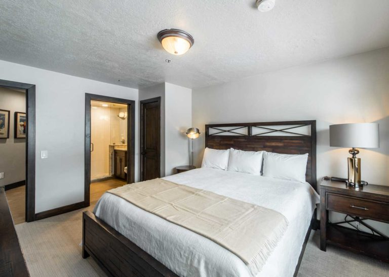 Bedroom of a 2 Bedroom Condominium at Loft at the Mountain Village in Park City Utah