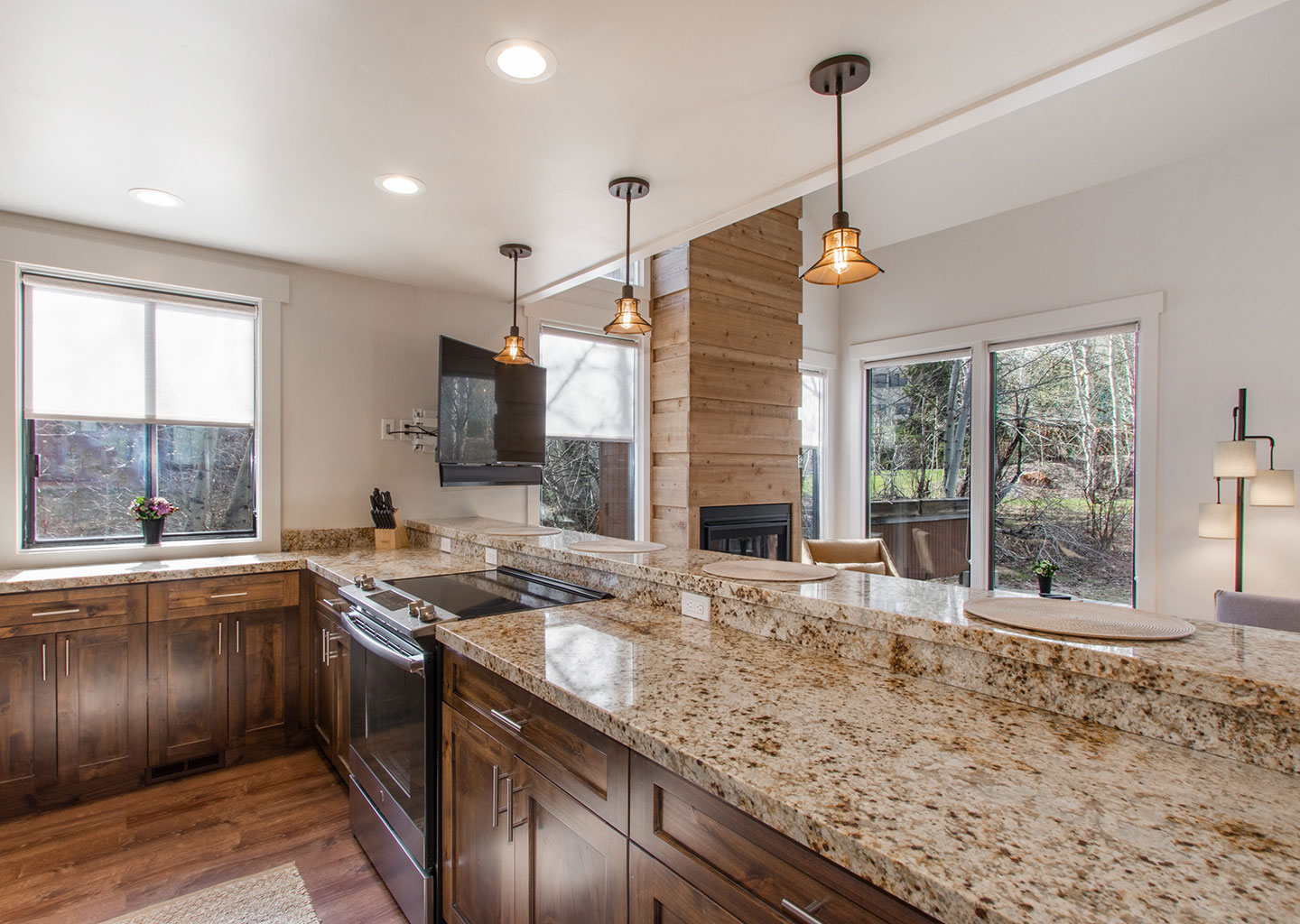 Kitchen with Granite Countertops Overlooking the Living Room at Three Kings Condominiums in Downtown Park City, Utah