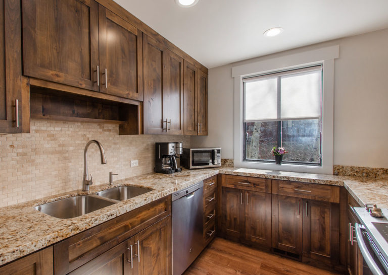 Kitchen with Granite Countertops at Three Kings Condominiums in Downtown Park City, Utah