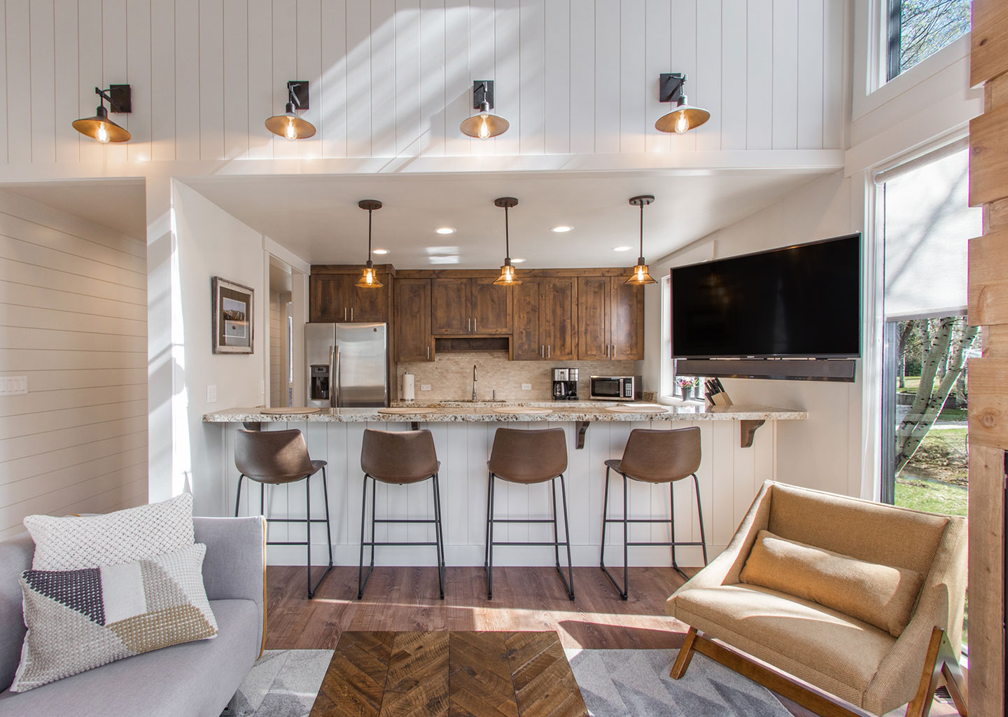 Nordic Inspired Living and Kitchen at Three Kings Condominiums in Downtown Park City, Utah