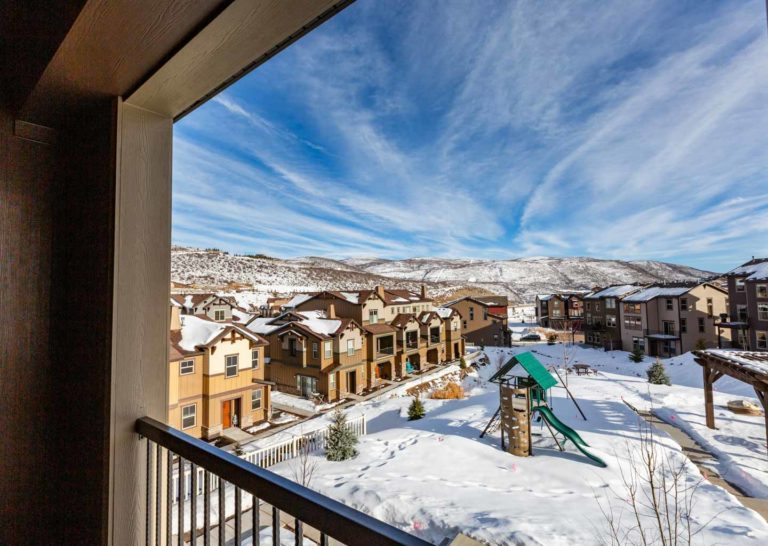 Playground Covered in Snow at Parks Edge Townhomes in Park City, Utah