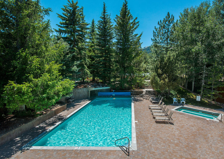 Outdoor Pools in Summer at Red Pine Condominiums in Park City, Utah