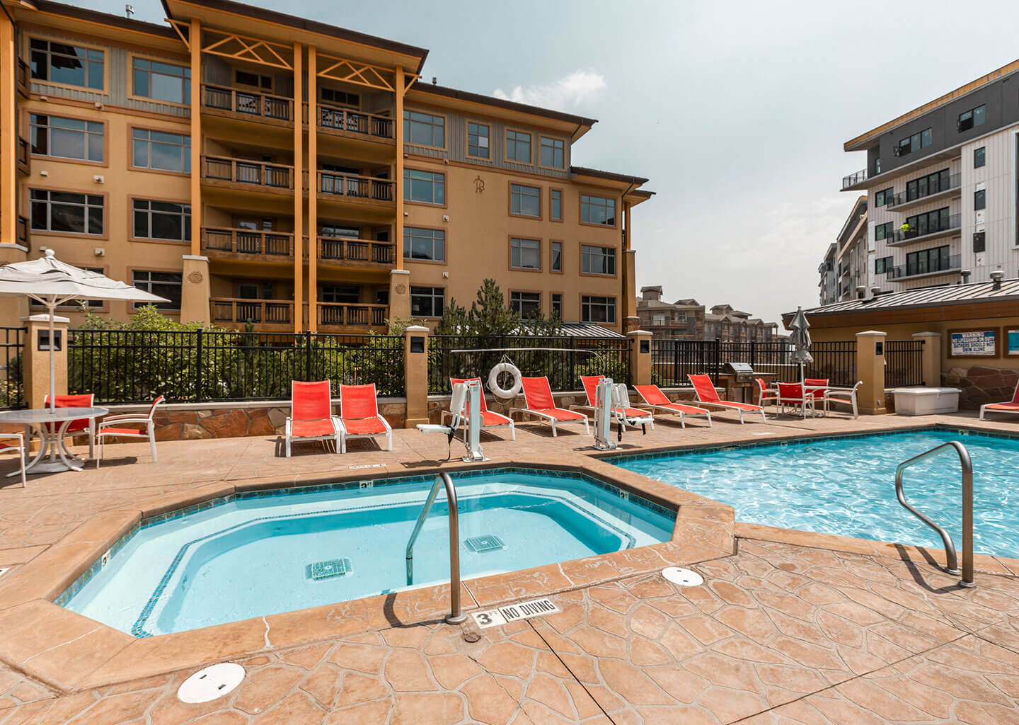 The Glistening Outdoor Pool at Sundial Lodge in Park City, Utah