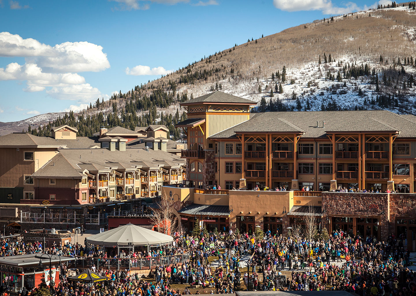 Spring Skiing Crowds at Canyons Village Ski Area in Park City Utah