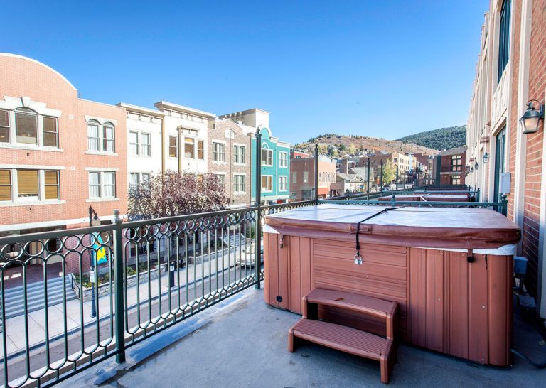 Hot Tub on Private Balcony at The Caledonian Hotel in Downtown Park City Utah