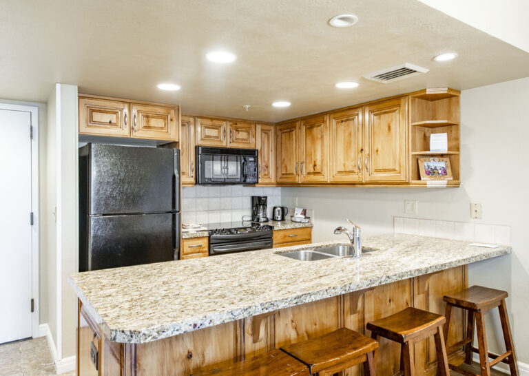 The full kitchen in a 4-bedroom condo at The Lodge at the Mountain Village