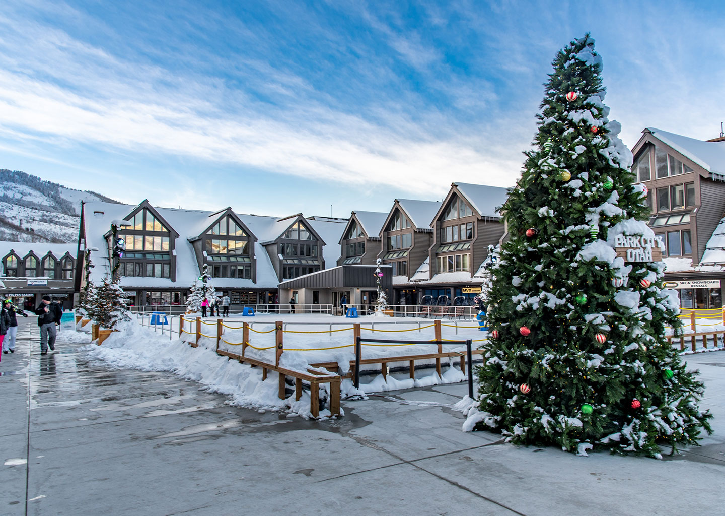 Ice Skating Rink in Winter at The Lodge at the Mountain Village in Park City, Utah
