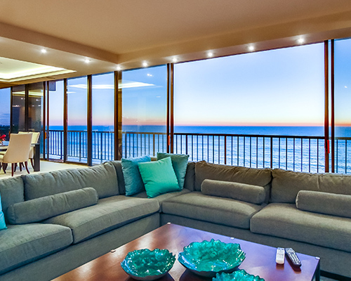 Living Room with Wrap Around Porch at Capri by the Sea in San Diego California