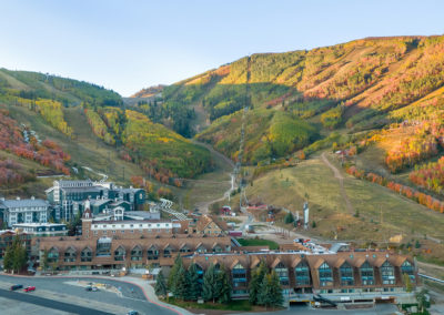 park city mountain resort base with the lodge at the mountain village in the foreground at twilight