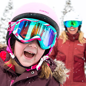 Mother and Child Wearing Ski Goggles