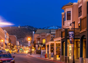 Beautiful Nighttime View of Town Lift Condominiums on Park City's Main Street