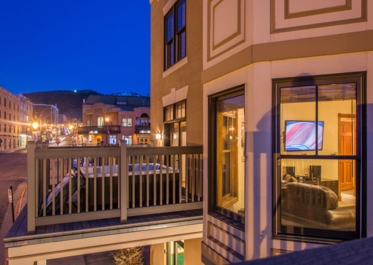 Porch with Hot Tub Overlooking Main Street Park City at Town Lift Condominiums