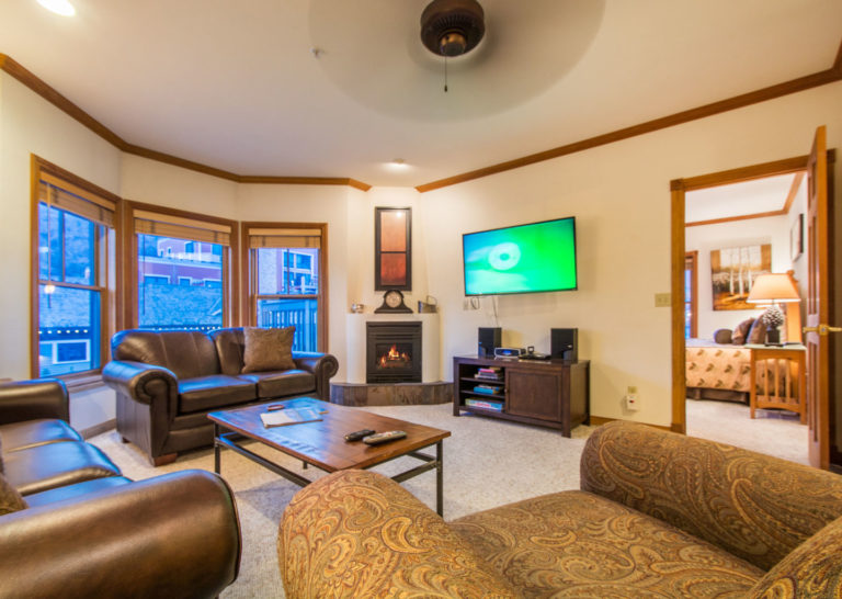 Living Room with Electric Fireplace at Town Lift Condominiums on Main Street Park City