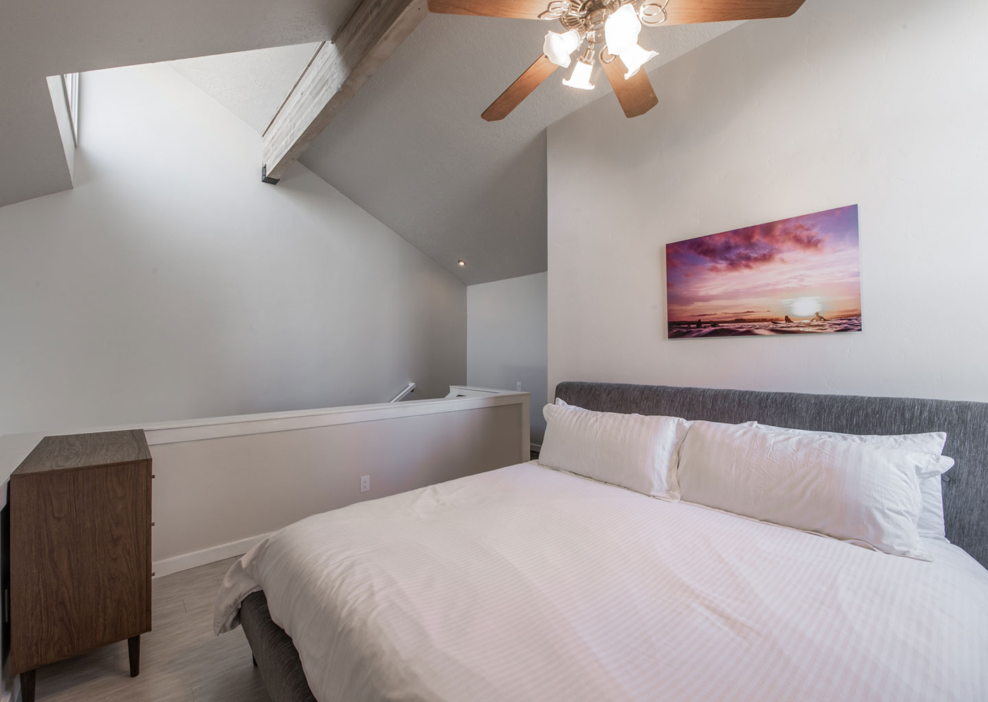 Upstairs Lofted Bedroom with Large Skylight at Three Kings Condominiums in Downtown Park City, Utah