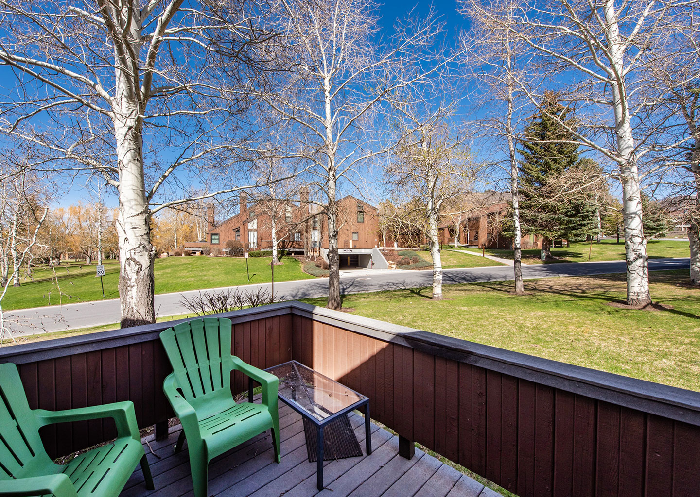 Outdoor Porch in Summertime at Three Kings Condominiums in Downtown Park City, Utah