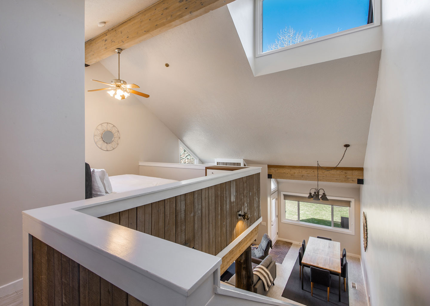 Upstairs Lofted Bedroom with Sky Light at Three Kings Condominiums in Downtown Park City, Utah