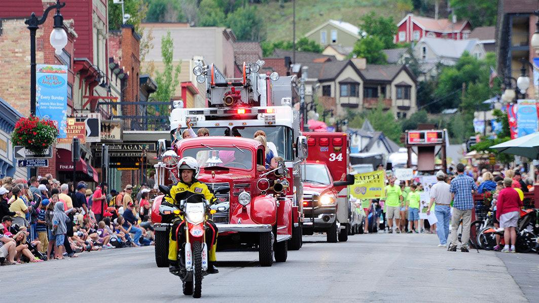 Fire Department Leading the Miners Day Parade on Main Street Park City