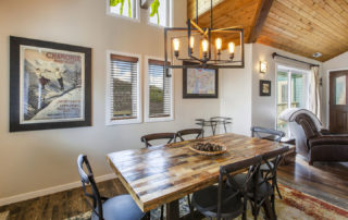 Dining Room with Vaulted Ceilings and Stained Glass Windows at Motherloade Condominiums in Downtown Park City, Utah