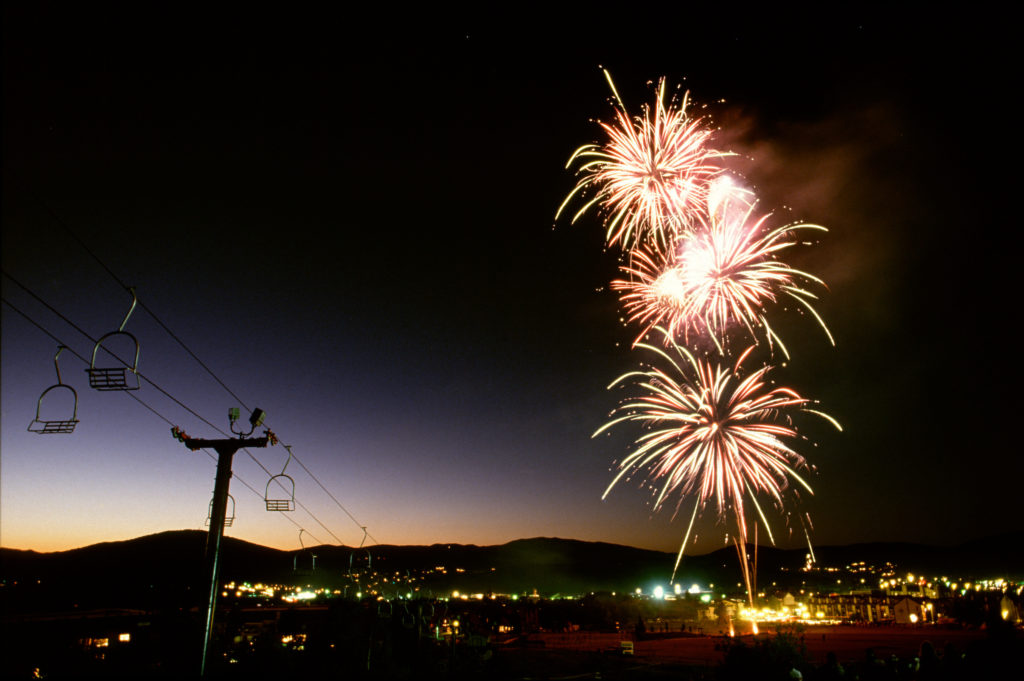 Fireworks at Dusk in Canyons Village in Park City, Utah