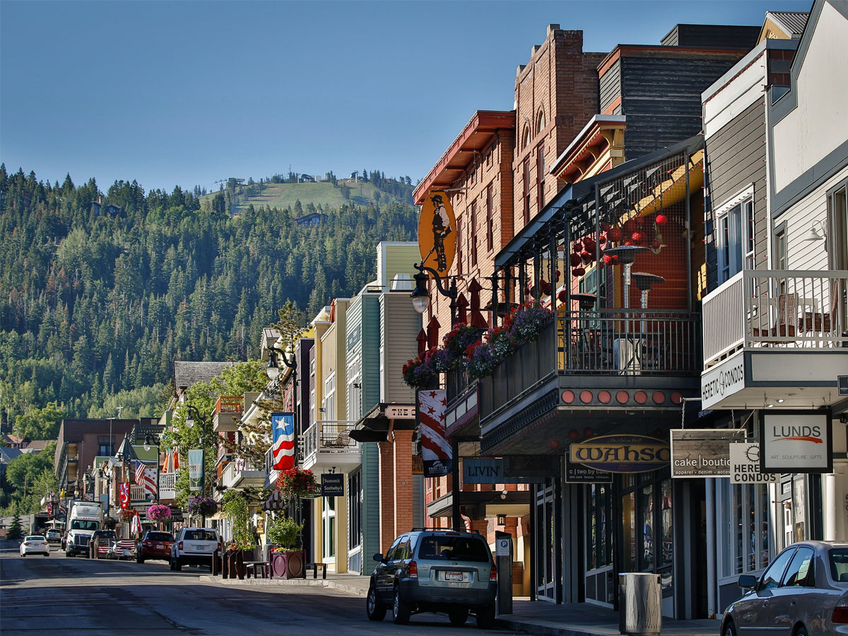 View of Shops and Buildings on Historic Main Street in Park City, Utah