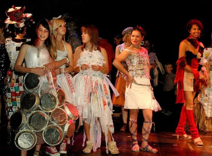 Group of Women Dressed in Recycled Fashion for Santa Fe Recycled Art Festival