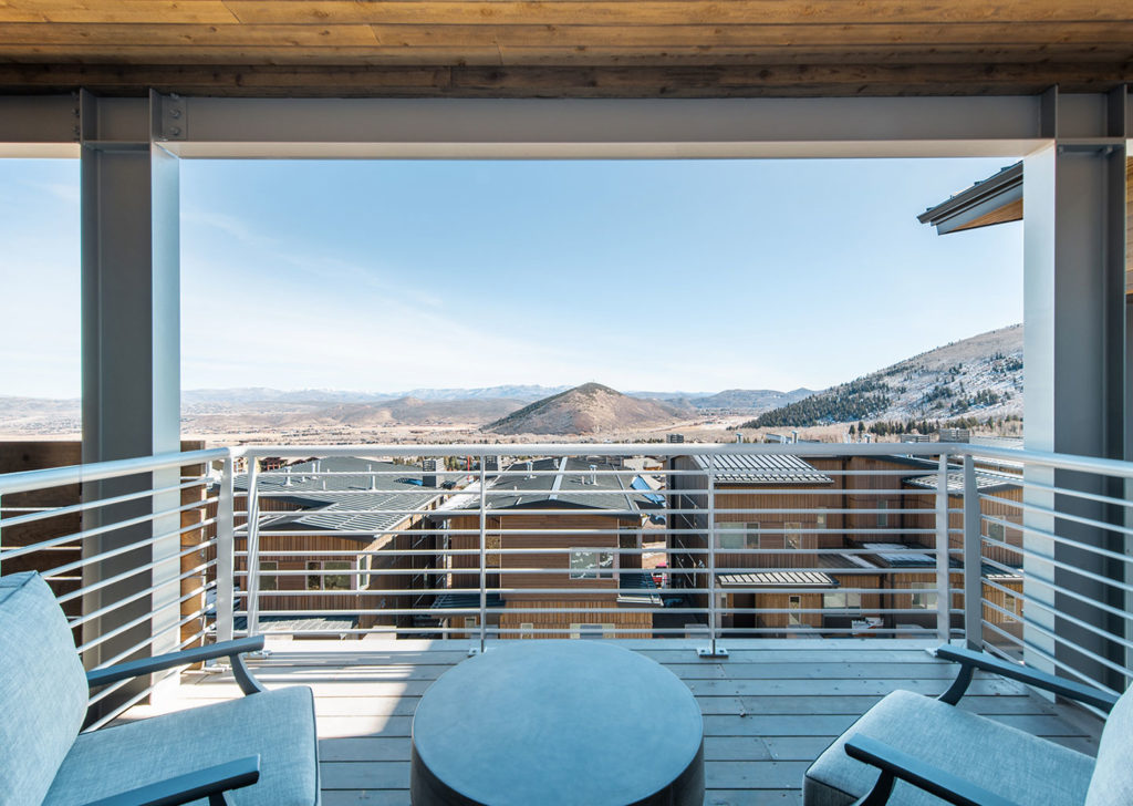 Porch with Outdoor Seating and Mountain Views at Apex Residences in Park City Utah