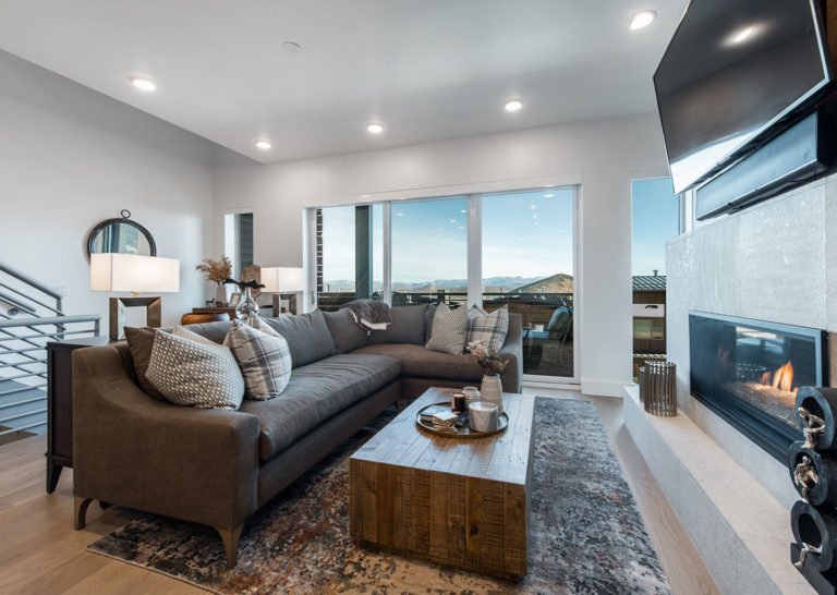 Living Room with Mountain Views at Apex Residences in Park City Utah