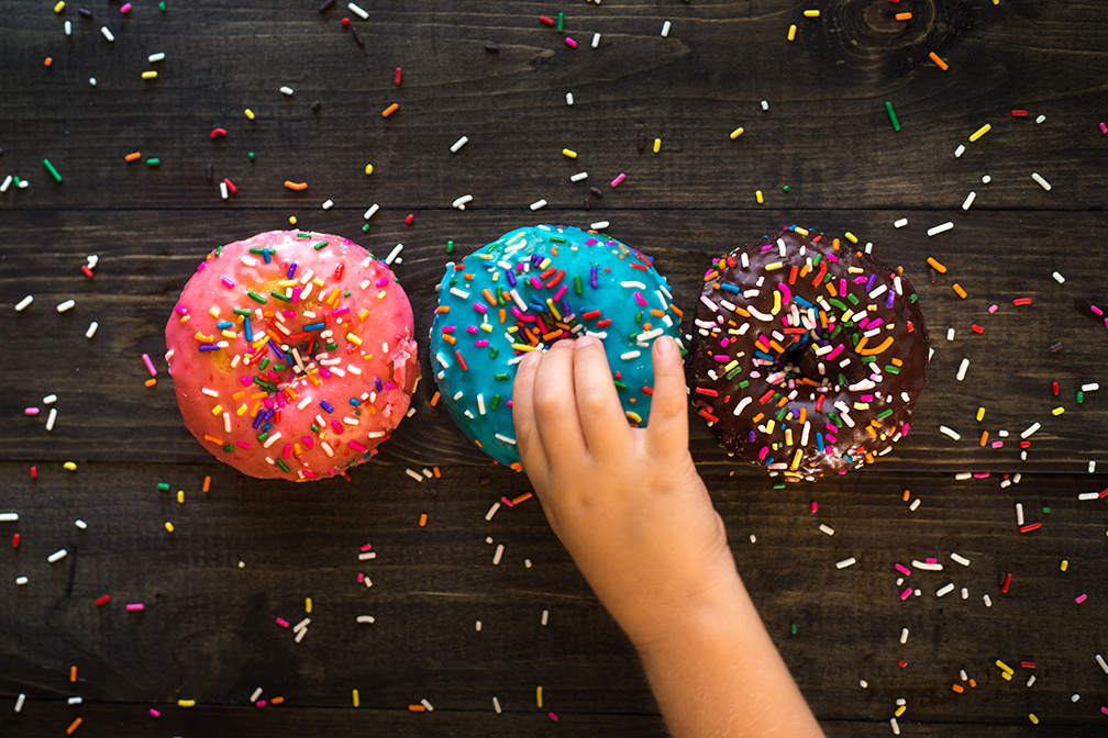 Three Doughnuts with Sprinkles