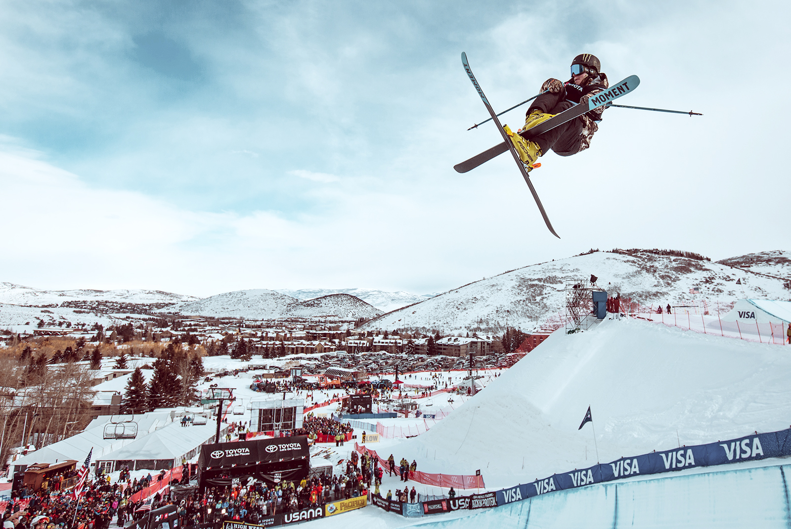 Freestyle Skiier Launching in the Air at the FIS World Cup in Park City Utah
