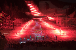 Torchlight Ceremony at Deer Valley During Christmas Time in Park City Utah